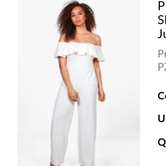 3767be1e4e Boohoo Plus White ruffle jumpsuit